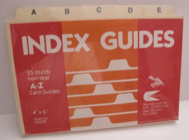 Laminated Tab Index Card Guides  4 x 6 Alphabetized A-Z, 26 count