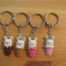 Kawaii bunny in ice cream cone light pink keychain key chain ring handmade