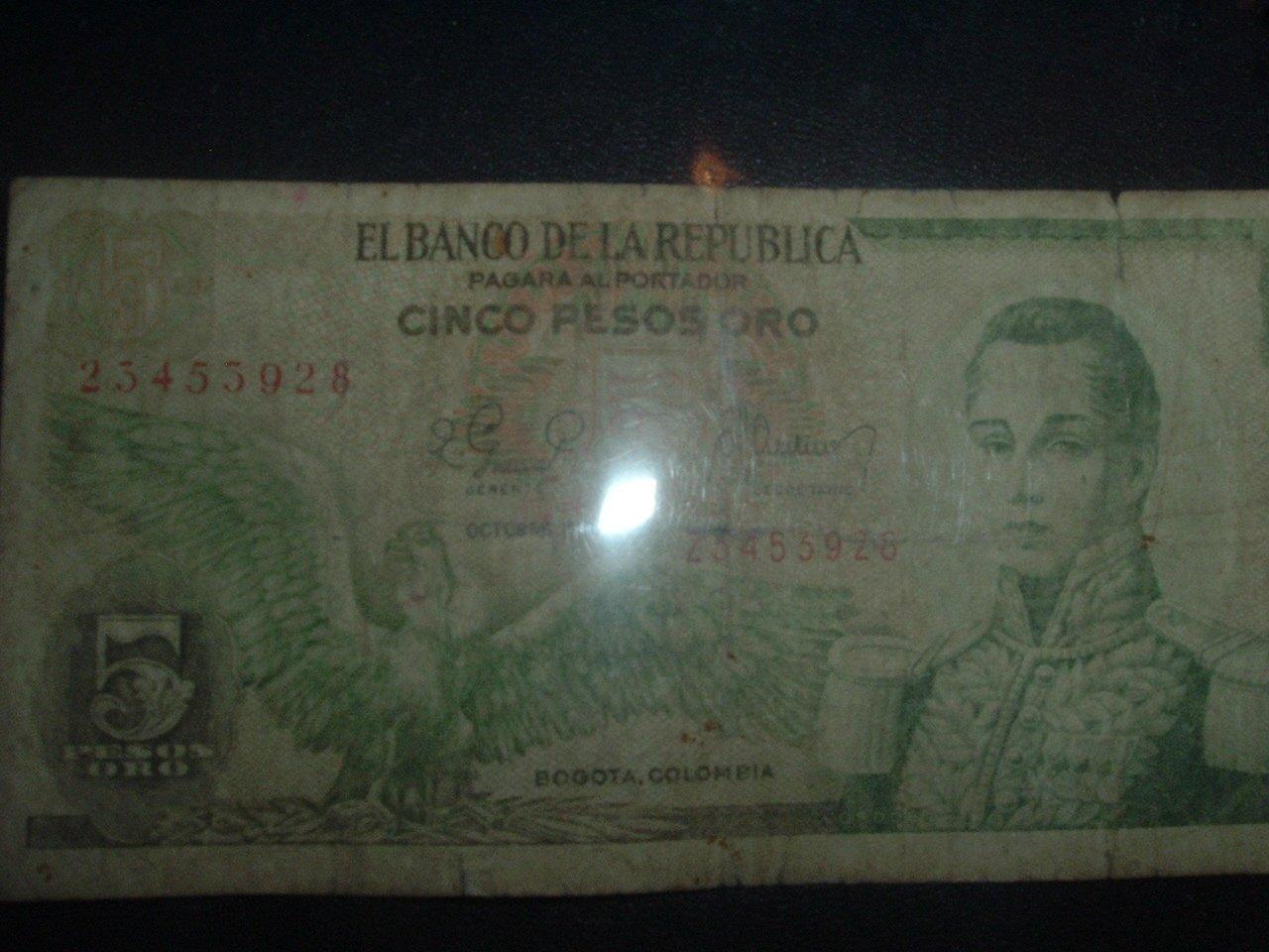 Cinco Pesos Oro  (GOLD) Circulated Colombian Paper Money