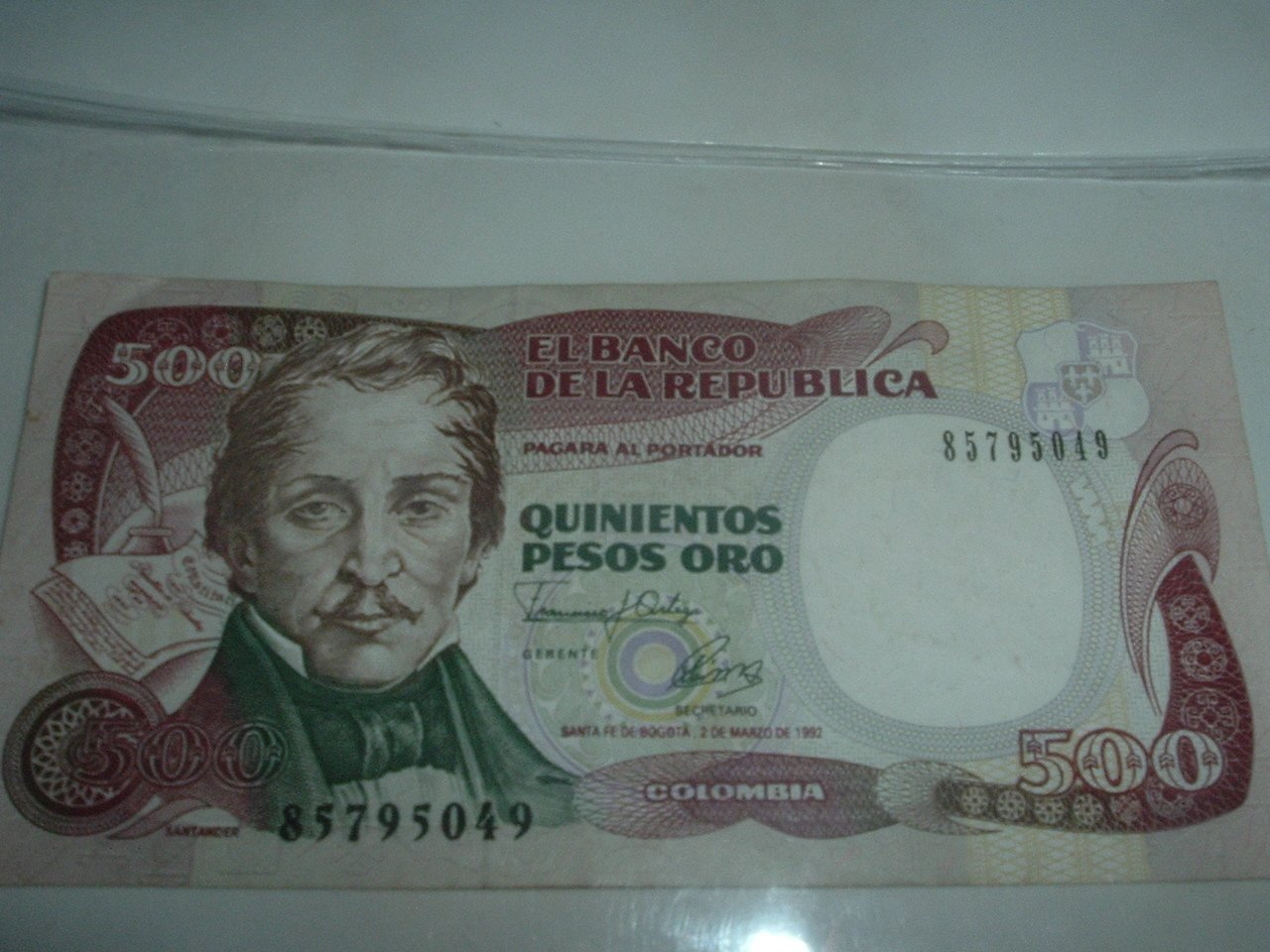 Colombian GOLD 500 Pesos Paper Currency