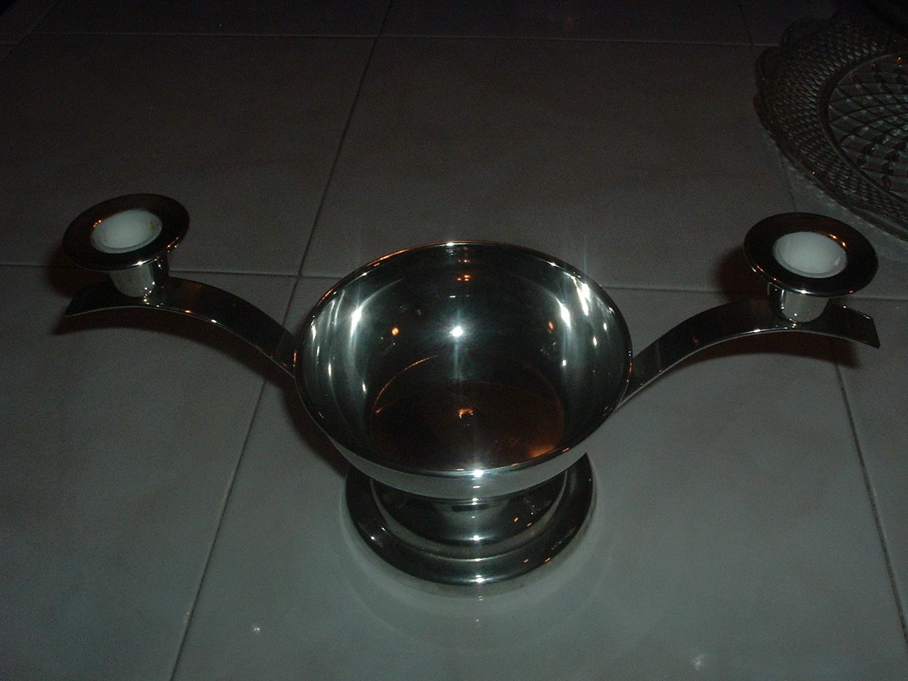 Heavy Silver SP Jewish Style Bowl W/Candle Holders
