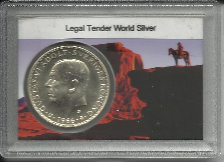 1966 Sweden 5 Kronor Silver Commemorative