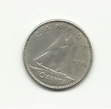 1966 #1  Silver Canadian Dime