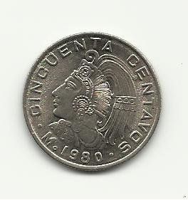 1980 Unc. Mexican 50 Centavos