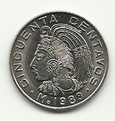 1983 Unc. Mexican 50 Centavos
