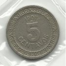 1907 #1 Mexico 5 Centavos - 107 years Old!