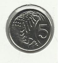 1992 Unc.  #2  Cayman Island $.05 coin