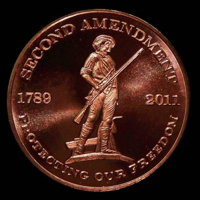 2011 1oz Avdp 999 Fine Copper Second Amendment Coin