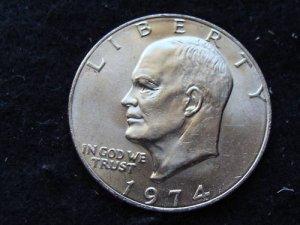 1974-P  #1 Unc. Ike Dollar.
