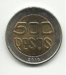 2010 #1 Gem BU Colombian 500 Pesos Coin