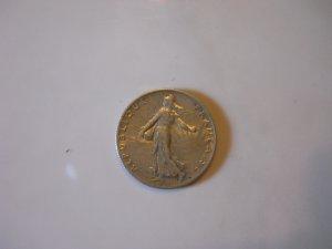 1918 AU Silver 50 Centimes.