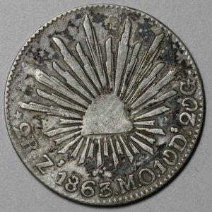 1863-Zs Silver 2 REALS Mexico Zacatecas MINT (1st REPUBLIC Coin)