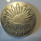 1882-Z J.S. #1 MEXICAN SILVER 8 REALES
