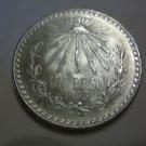 1933 #6 Unc.  Mexican Un Peso Silver Dollar.