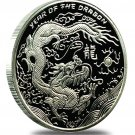 2012 - 1 - OZ. Year of the Dragon .999 Silver Proofs