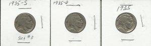 1936-PDS Buffalo Nickel Set #11