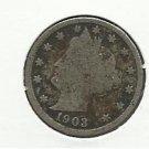 "1903 #8  Liberty ""V""  Nickel."