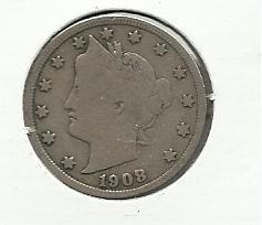 "1908 #4  Liberty ""V""  Nickel."