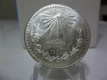 1934 #2 Unc.  Mexican Un Peso Silver Dollar.