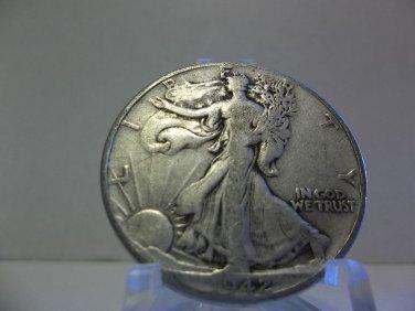 1942 #3 90% Silver Walking Liberty Half Dollar.