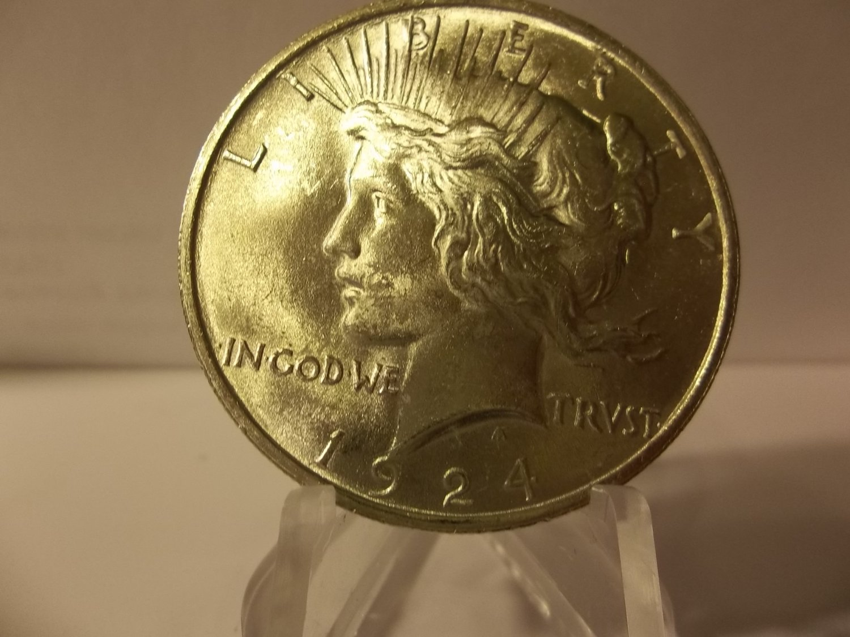 1924 #2  BU Peace 90%  Silver Dollar.