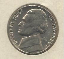 1980-P #1 Jefferson Nickel