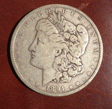 1891 #1  90% Silver Morgan Dollar.