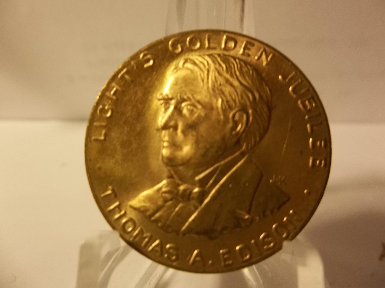 """1879-1929 Thomas Edison """"Light's Golden Jubilee"""" Token"""