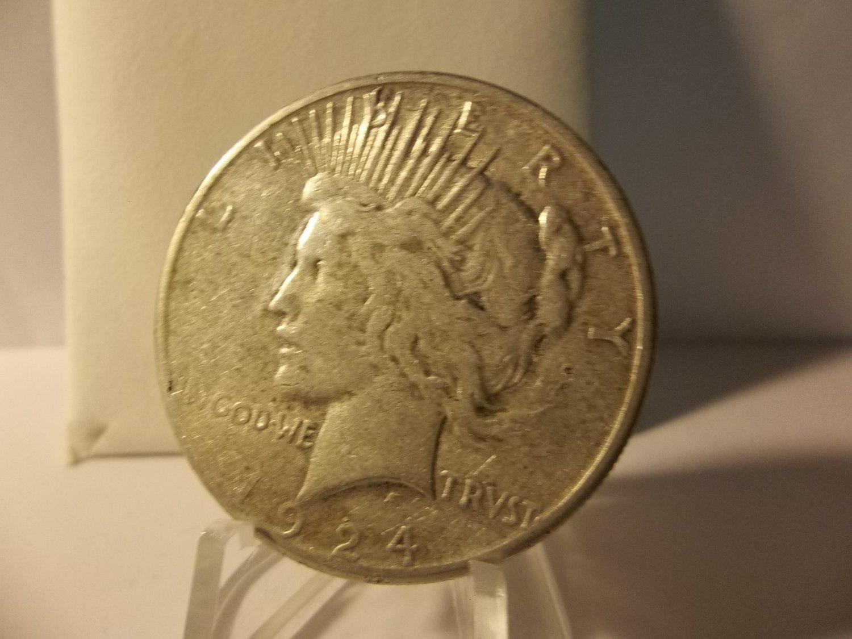 1924-S #1   Peace 90%  Silver Dollar.