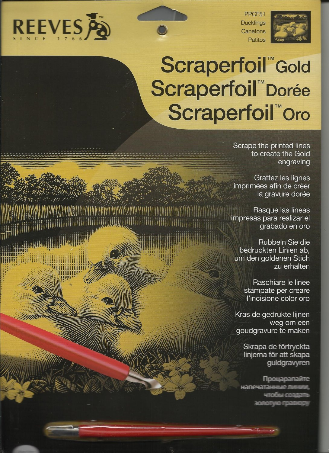 One Scraperfoil Gold Ducklings Craft Kit.