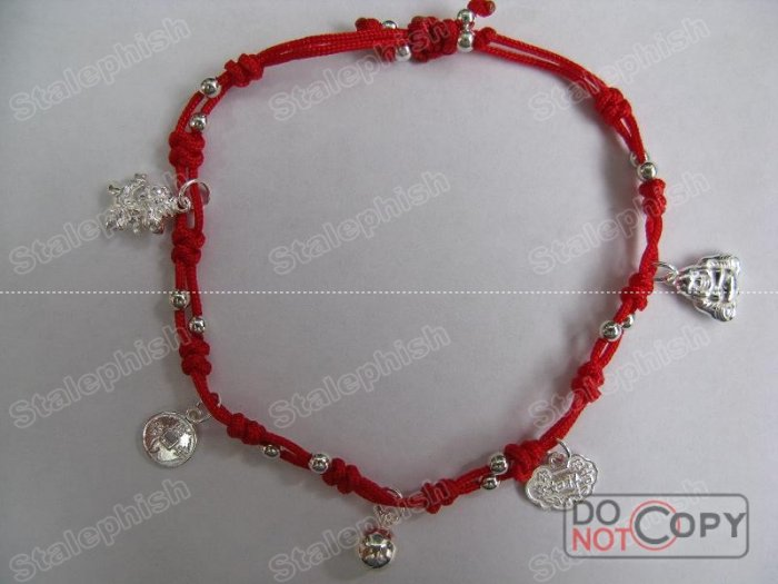 TIGER CHINESE ZODIAC RED THREAD STERLING SILVER      5-CHARM BRACELET