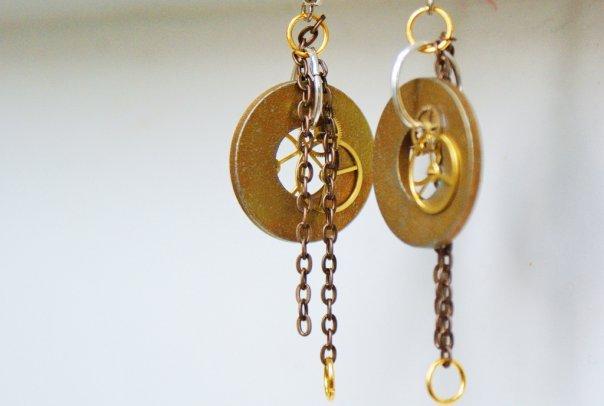 Industrial Clockwork Earrings with Antiqued Steel Chains