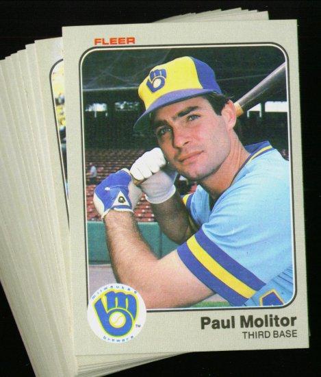 1983 FLEER BREWERS TEAM SET MOLITOR YOUNT NMMT-MT