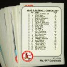 1983 FLEER CARDINALS TEAM SET MCGEE RC SMITH NMMT-MT
