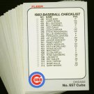 1983 FLEER CUBS TEAM SET NMMT-MT
