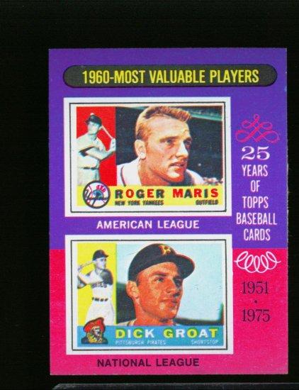 1975 TOPPS MINI #194 MVP'S GRAOT AND MARIS YANKEES NM