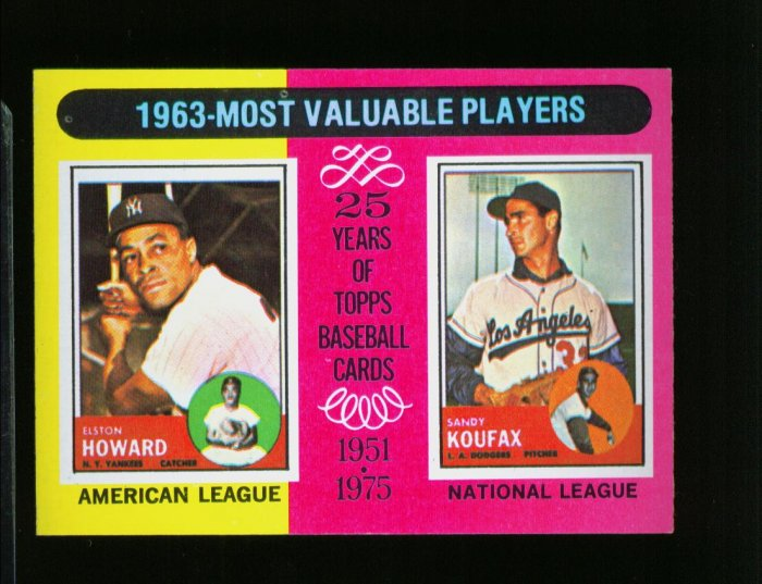 1975 TOPPS MINI #201 KOUFAX AND HOWARD DODGERS AND YANKS  NM