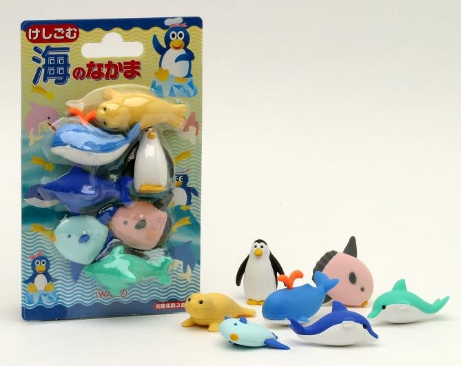 NEW Sea World Penguin Dolphin Whale Fish Japanese Eraser Carded Set IWAKO FREE Shipping