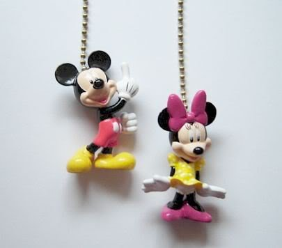 SALE 2 Disney Mickey Minnie Mouse Figure Ceiling Fan Light Lamp Pull FREE Shipping