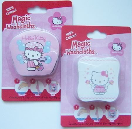 2 NEW Hello Kitty MAGIC WASHCLOTHS Towel Bath Set Basic Fun
