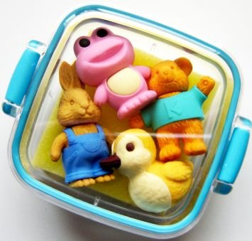 NEW 4 Animals Japanese Erasers IWAKO Blue Case Bento Box