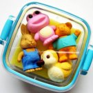 NEW 4 Animals Japanese Erasers IWAKO Blue Case Bento Box