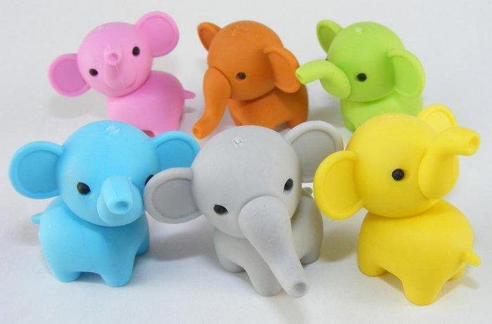 6 NEW Colors Zoo Party Elephant Erasers IWAKO Japan