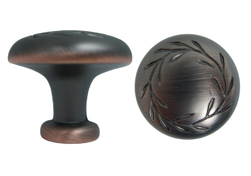 25 Oil Rubbed Bronze Cabinet Knob with a Leaf Motif