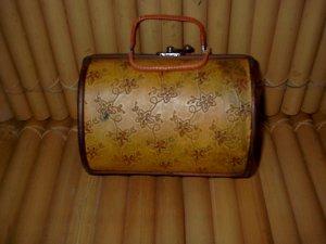 """Wood and Leather 'Handbag"""" box"""
