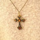 Vintage Champagne Cross Pendant With Chain