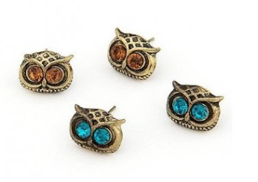 Crystal eyed wise old owl earrings