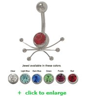 Belly Button Ring Surgical Steel with Jewel