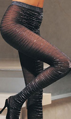 Lurex Zebra Tights (Leg Avenue) Color Black, Size: OS
