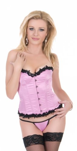 SATIN CORSET WITH TRIM AND G-STRING. COLOR P/B.SIZE L